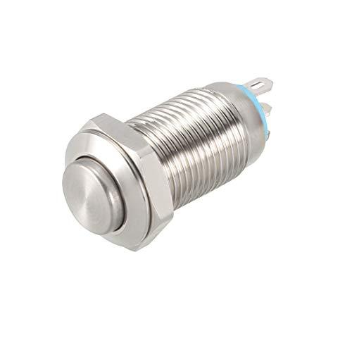 sourcing map Momentáneo Metal Pulsar Botón Interruptor 10mm Montaje Dia 1NO 1NC COM DC 30V 24 X 13.5mm