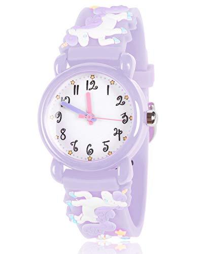 Kids Gift wasserdichte Kinder-Armbanduhr, 3D-Cartoon-Uhr, für Mädchen und Jungen, A-Unicorn-Purple