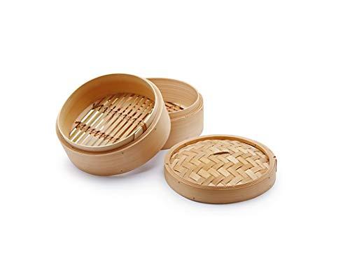 H&H Cuocivapore, Cestello per Cottura a Vapore, 2 Livelli, con Coperchio, bambù, 12.5 cm