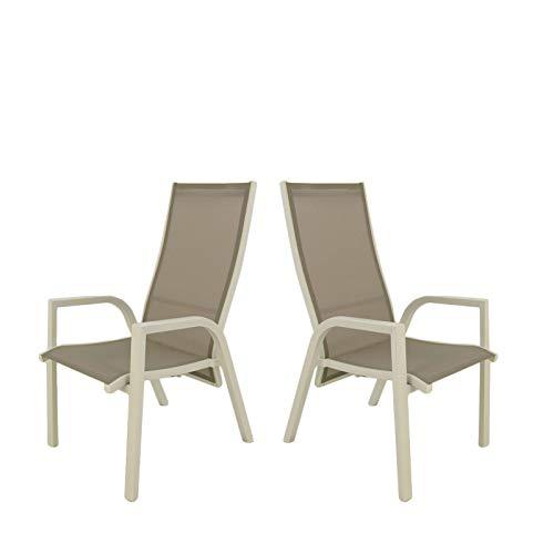 Pack 2 sillones para jardín reclinables y apilables, Tamaño: 57x85x110 cm, Aluminio Blanco y texti
