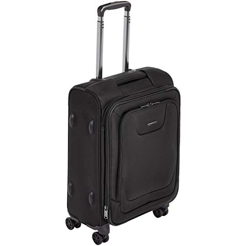 AmazonBasics Expandable Softside Carry-On Spinner Luggage Suitcase With TSA Lock And Wheels - 23 Inch, Black Double Side Upright Bass