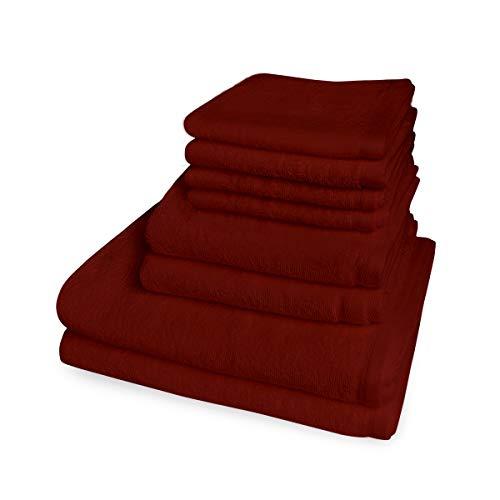 Banzaii Juego de Toallas Medidas Maxi - 4 Toallas de Tocador 60 x 40 cm + 2 Toallas de Baño 60 x 100 cm + 2 Toallas de Ducha 100 x 150 cm Burdeos