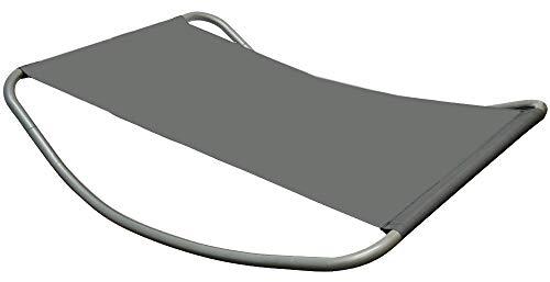 AMANKA Gartenliege XXL Wippliege Sonnenliege in Grau Extra groß ca. 200x130x32 cm Robustes Metallgestell formstabile Bespannung Moderne Relaxliege mit Kopfkissen Für Innen und Außenbereich
