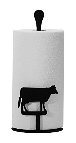 Iron Counter Top Cow Kitchen Paper Towel Holder - Heavy Duty Metal Paper Towel Dispenser, Kitchen Towel Roll Holder