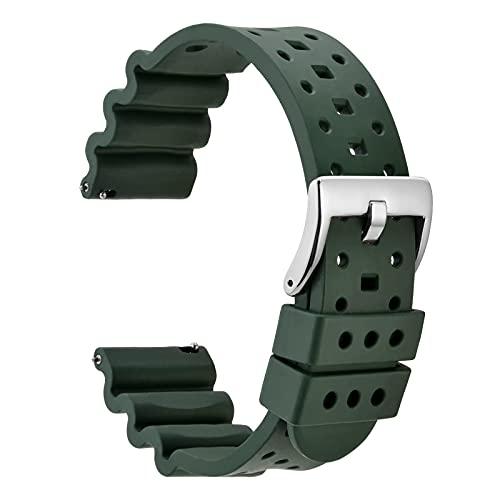WOCCI 18mm Ventilado Correa de Reloj para Hombres, Silicona de Caucho Fluorado, Hebilla Plateada Pulida (Verde Militar)