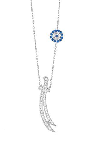 925 Silber Halskette Schwert von Ali, Dhū l-faqār, Zulfiqar, Zulfikar - Türkisches Auge Nazar Boncuk, ColorName:Silber