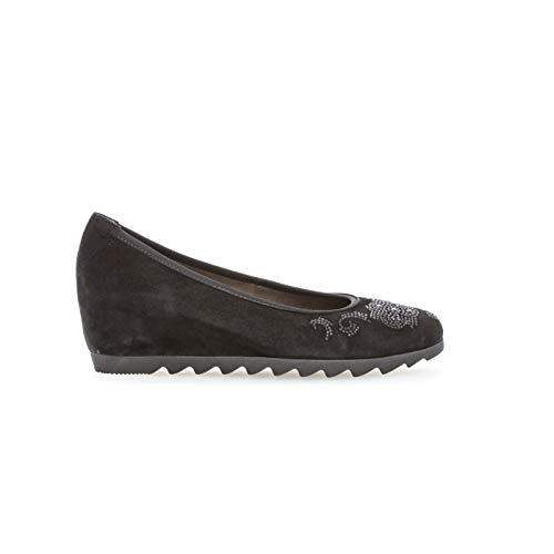 Gabor Damen Keilpumps schwarz Velourleder Größe 37 bis 41, Damen Größen:38, Farben:schwarz