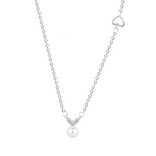 N/A Necklace Pendant Accessories Silver Color Necklace Micro Zircon Love Heart Pearl Clavicle Necklace For Women fashion Halloween Christmas Party Birthday Gift
