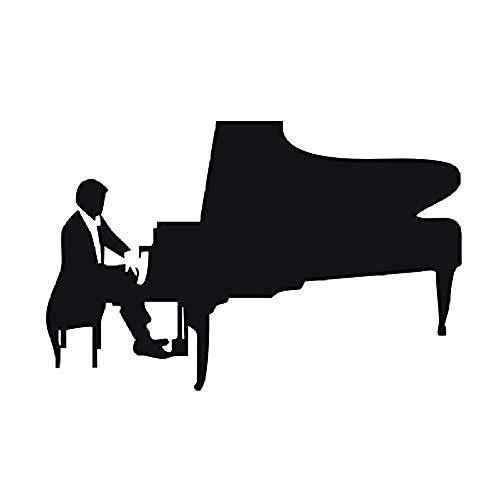 DIY Afneembare Art Piano Speler Decal Vinyl Quote Muziek Poster Muursticker Muurschildering 3D Ontwerp Badkamer Decoratie voor Woonkamer 89x58cm