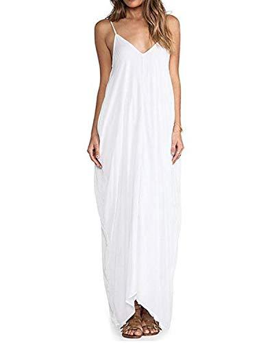 ZANZEA Maxikleid Damen Ärmellos Einfarbig Casual Sommer Kleid V Ausschnitt Strandkleid Trägerkleid Weiß EU 36