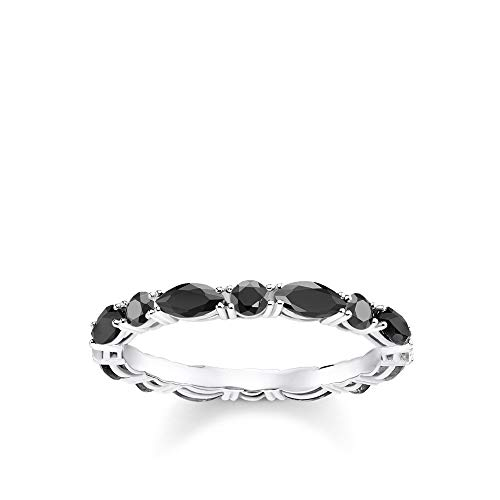 Thomas Sabo Damen-Ring Schwarze Steine 925 Sterlingsilber TR2185-051-11-50