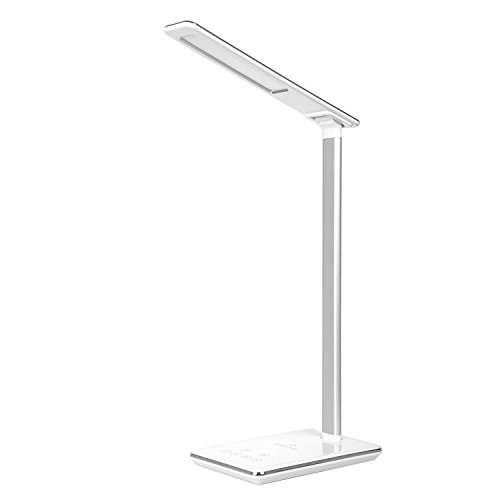 ELINKUME LED Schreibtischlampe mit Qi Wireless Charging, Dimmbare Tischlampe mit 4-Farben Beleuchtungsmodus & 5 Helligkeitsstufen,Berühren Sie Coutrol,Zeitgesteuertes Herunterfahren,USB-Ladeanschluss