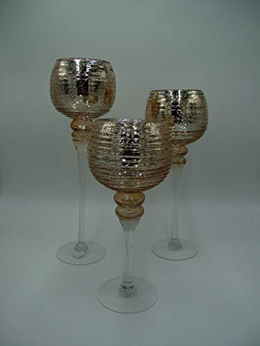 Werner Voss 3tlg. Glaskelch Windlicht Set H40/35/30cm mit Rose goldenen Kelchen auf Fuß Kerzenhalter Kerzenständer Kerzenleuchter