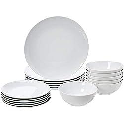 cheap 18 Amazon Basics cookware sets, plates, plates, bowls, 6-person set, white …