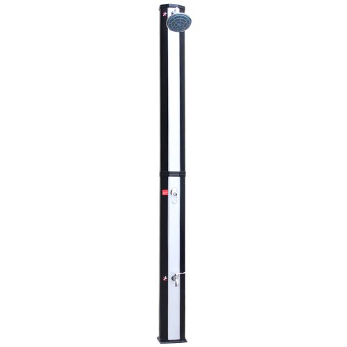 Aquamarin Solardusche 35L - Temperatur bis 60°C, mit Fußdusche, 2 Wasserhähne, UV beschtändig, 217cm, runder Regenduschkopf, Silber - Gartendusche, Pooldusche, Regendusche, Außendusche