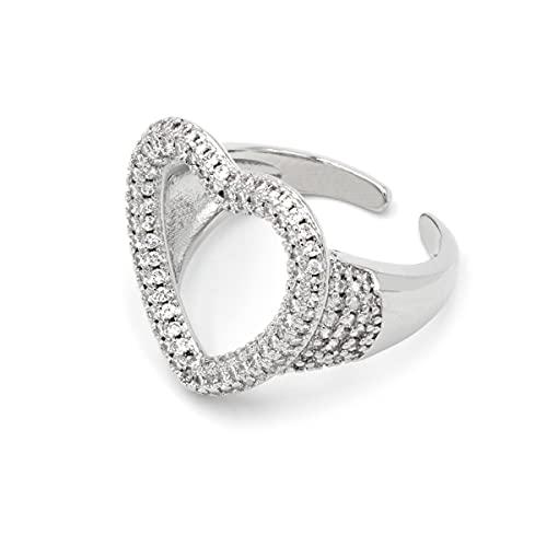 Colours & Beauty - Anillo de mujer con cristales de circonita cúbica, ajustable, anillo de compromiso para mujer, con circonitas Corazón de plata