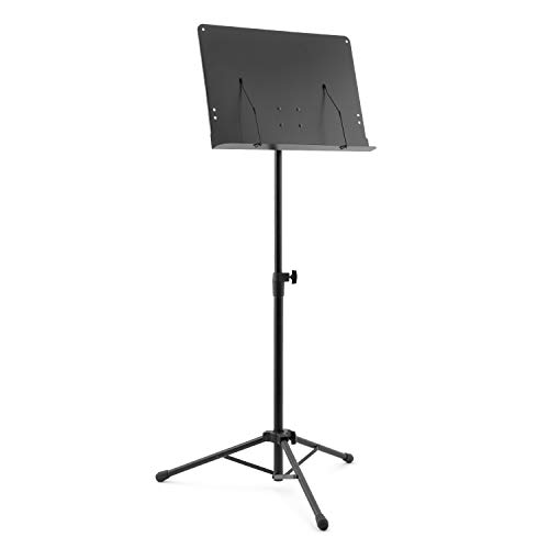 Mad About MUS24-BK Orchestral Sheet Music Stand with Page Retainers and Tripod Base
