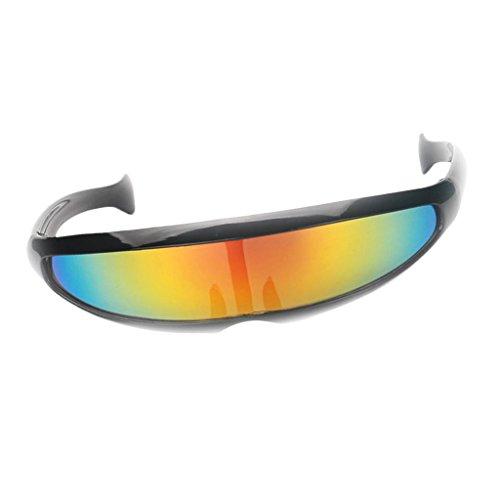 FITYLE Futurista Robocop Cyclops Outter Space Robot Shield Gafas De Sol Color Mirrored Lens Visor - Marco Negro Amarillo reflejado