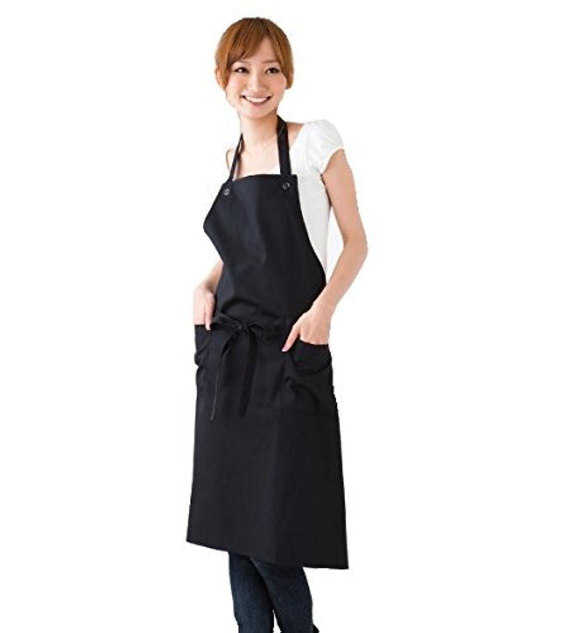 シンプルエプロン カフェ風ベーシックタイプ【全6色】 (ブラック)