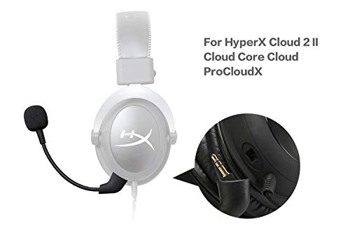 Replacement HyperX Game Mic 3.5mm Uncleligt Microphone Boom for Kingston HyperX Cloud X, Cloud 2 II, Cloud Core, and Cloud Pro Silver Gaming Headset