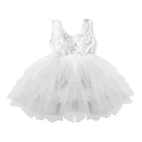 FENICAL - Vestido de tutú de Encaje, diseño de Flores, Espalda Desnuda, línea Princesa, Vestido de Fiesta, para niña (Blanco), poliéster, Blanco, S