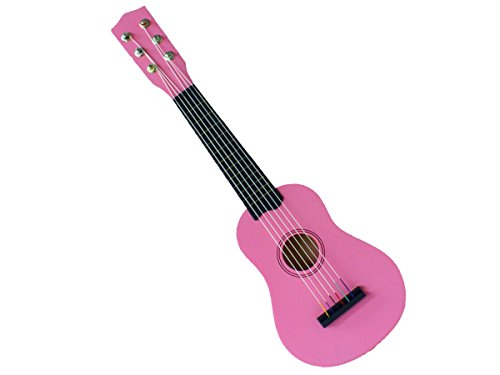 Concerto 701207 Gitarre 55 cm, Kindergitarre aus Holz, Musikinstrument für Anfänger, Holzgitarre zum Lernen, Anfängergitarre für Kinder ab 3 Jahren, Konzertgitarre zum Üben, rosa