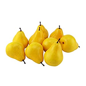 JEDFORE Simulation Artificial Lifelike Fake Pear Set Fake Fruit for Home House Kitchen Wedding Party Decoration Photography Props – 12 Pcs Yellow