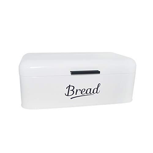 DRULINE Brotkasten Metall |Brot | Aufbewahrungsbox | Brotkorb | Brotbehälter | Frischhaltebox | Küche | Büro | Picknick | Hochwertig verarbeitetes Metallblech | Großer Stauraum | 16,5 x 42 x 23cm (L/B/H) | Weiß