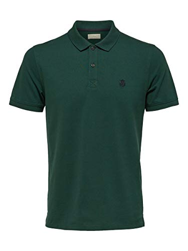 SELECTED HOMME Herren Shdaro Ss Embroidery Polo Noos T-Shirt , Grün (Trekking Green) , X-Large