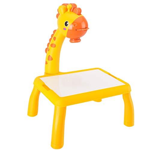 LIDABAO Escritorio infantil con proyector, juguetes educativos con función de cantar, tabla de pintura desmontable para niños