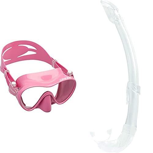 Cressi F1 Mask Máscara Monocristal Tecnología Frameless, Unisex, Rosa + Mexico Tubo De Snorkel, Unisex-Adult, Transparent
