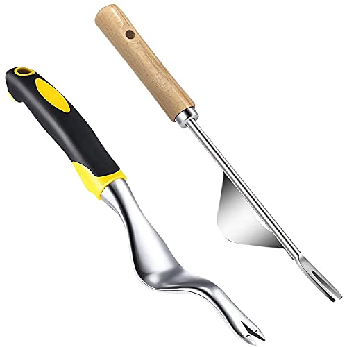 Ledeak Hand Weeder Tool, 2Pcs Garden Manual Weed Puller Tool, Ergonomic Stainless Steel Weeding Tool, Easy Weed Removal and Deeper Digging for Garden Lawn Farmland Transplant