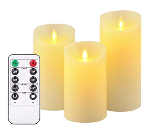 LED Candle, flameless Candle, 180-hour Decorative Column, 3, 10-Button Remote Control and 24-Hour Timer Function (3 * 1, Ivory)