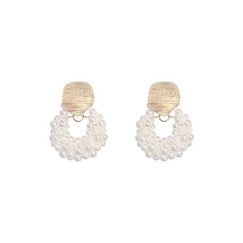 Exquisita, elegante Oído de la manera aguja de plata Pendientes de perla colgante de tejido a mano del estilo simple temperamento pendientes orejeras forma de abanico Arete ( Color : Water droplets )