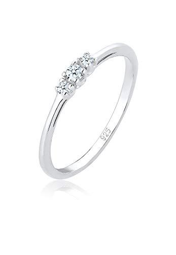 Elli Anillo de compromiso para mujer con diamante (0,07 ct) en plata 925