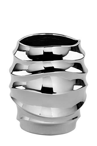 Fink Fabia/Übertopf,Vase,Keramik,silberf. / H.14cm,D.13cm