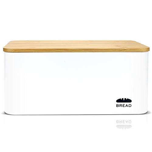 Granrosi Brotkasten mit Bambus Deckel - Geräumige Metall Brotbox mit Schneidebrett hält Brot und Brötchen länger frisch und ist EIN optisches Highlight in jeder Küche