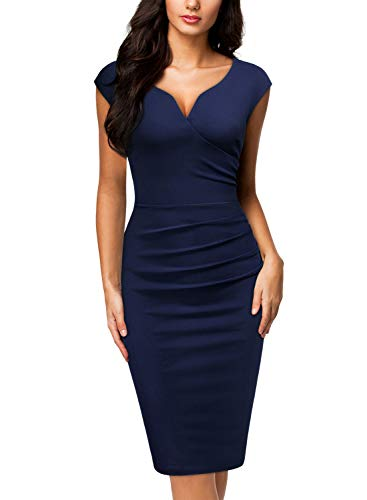 Miusol Women's V-Neck Sleeveless Vintage Slim Style Business Pencil Dress (Large, B-Navy Blue)
