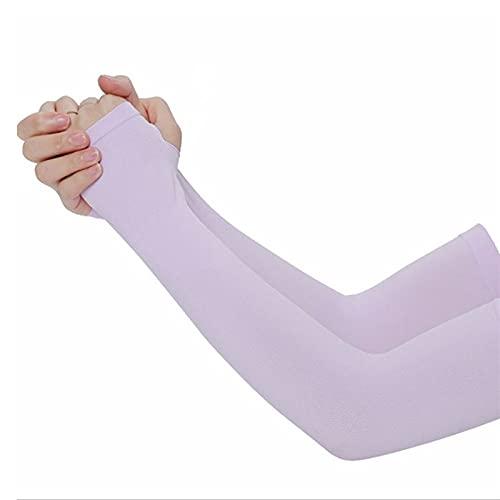 TTCI-RR 1 par de guantes anti-ultravioleta, mangas deportivas elásticas, refrigeración de verano, correr, montar a caballo, al aire libre, mangas de brazo protección solar (color: púrpura)