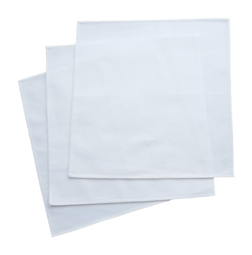 Organic Handkerchiefs Co, Men's White Hankies, Organic Cotton 14 inch, Pack of 3
