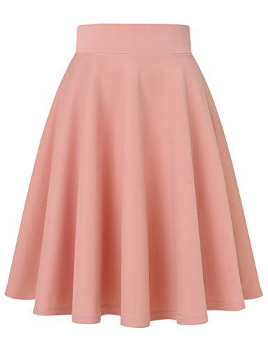 MuaDress 9002 Damen Mädchen Basic Kurz Rock Solide Glocken dehnbaren informell Röcke Blush Knielang L
