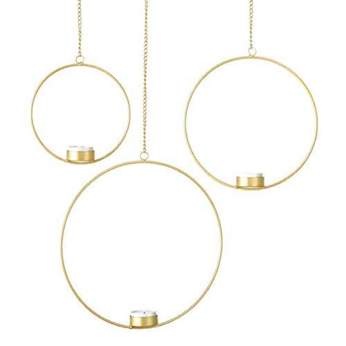 MAIKAI Elegantes 3er Set Teelichthalter Ringe Gold Zum Hängen In DREI Größen Kerzenhalter Kerzenständer Weihnachten Dekoration Fenster Deko Weihnachtsdekoration Modern