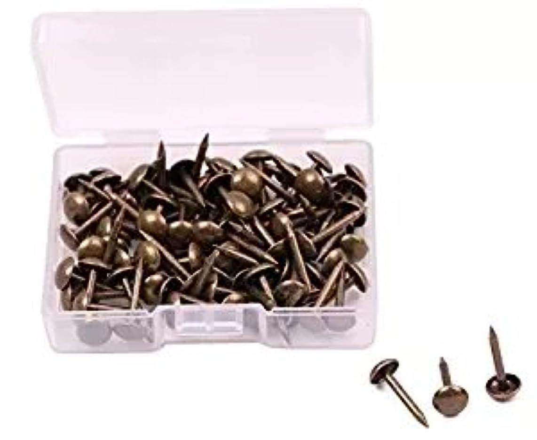 FUCAS 200Pcs Upholstery Tacks Furniture Nails Pins Upholstery Pins Craft Thumbtack Tack, 6x14mm (Antique Brass)