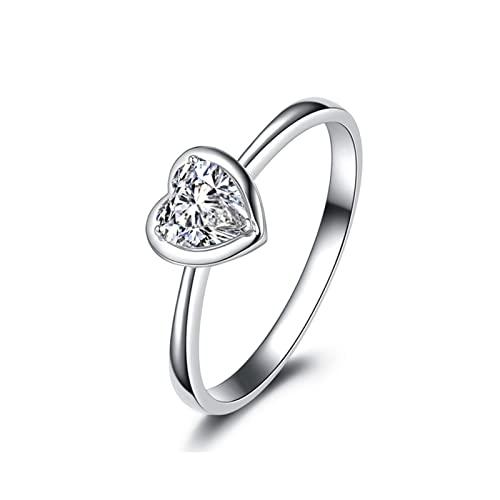 Aeici Alianzas Matrimonio 0.2ct Redonda Diamante, Anillo Oro blanco 18k para Mujeres, Tamaño 21