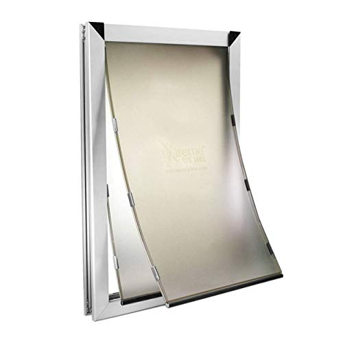 Extra Large Dual Flap Heavy Duty Rustproof Dog Doors for Exterior Doors - Solid Aluminum Frame with...