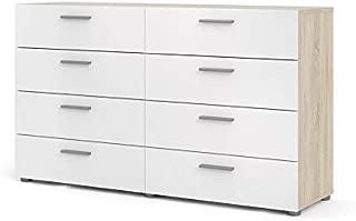 Tvilum Austin 8 Drawer Double Dresser, Oak Structure/White High Gloss