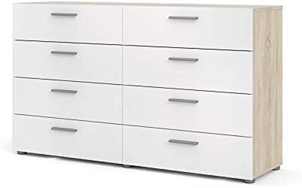 Tvilum 70073akuu Austin 8 Drawer Double Dresser Oak Structure White High Gloss