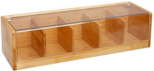 Vita Perfeta - Scatola per il tè con 5 scomparti, in bambù, scatola portaoggetti per sacchetti di tè (36 x 11 x 9 cm)