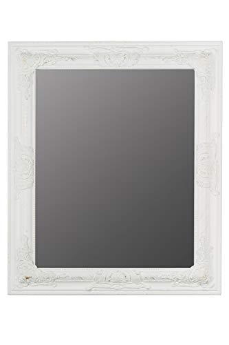 elbmöbel Spiegel 62 x 52cm Wandspiegel in weiß mit Holz-Rahmen und barock Verzierungen