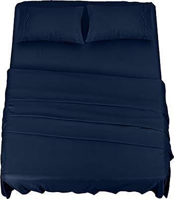 JUEGO DE SÁBANAS DE CAMA - El juego de sábanas de cama de 4 piezas incluye 1 sábana encimera de 225 x 255 cm, 1 sábana bajera ajustable de 135 x 190 cm con bolsillo de 35 cm y 2 fundas de almohada de 50 x 75 cm con cierre envolvente de 10 cm. (FUNDA ...